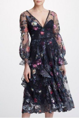 Bishop Sleeve Floral  Midi Tea Dress N32C0947