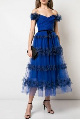Royal Blue Off Shoulder Tulle Dress N32C0951