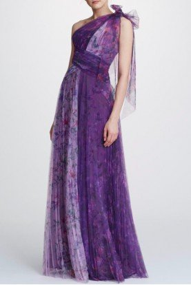 Lilac One Shoulder Floral Tulle Gown N32G0914