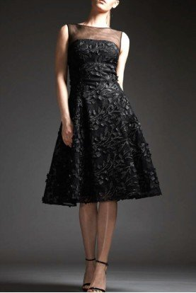 Black Sleeveless Tulle Cocktail Dress M124
