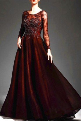 Merlot Beaded Lace Demi Ball Gown  M168