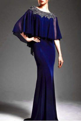 Navy Stretch Faille Gown with Beaded Cape M167