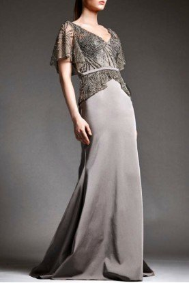 Taupe Beaded Tulle Bodice Gown M166