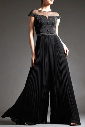 Black  Sleeve Chiffon Jumpsuit M185