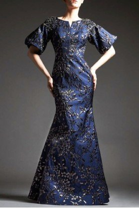 Slate Floral Brocade Mermaid Gown M183