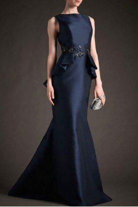 Navy Beaded Sleeveless Mikado Gown M132