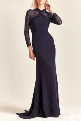 Navy Long Sleeve Crepe Gown M211