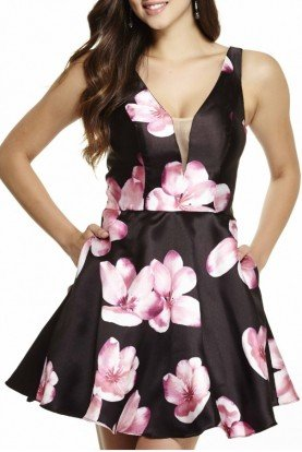 Jolene Black and Pink  Floral Cocktail Dress 16508