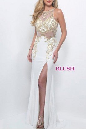 Blush Prom White High Slit Beaded Illusion Gown 11038
