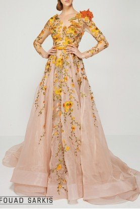 Long Sleeve Nude Orange Floral Evening Gown