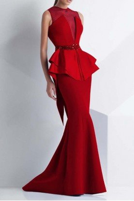 MNM Couture Sleeveless Peplum Gown