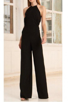 445716 Black Halter Neck Crepe Jumpsuit