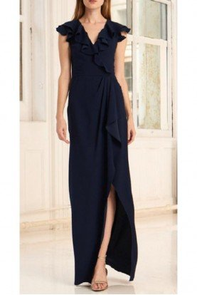 445511 Halter Hi Low Gown in Midnight