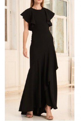 445698 Flutter Sleeve Crepe Gown in Jet