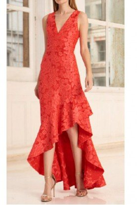 445691 Red Sleeveless Hi Low Floral Jacquard Gown