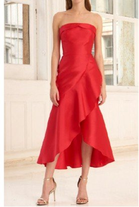 445748 Red Strapless Mikado Midi Dress