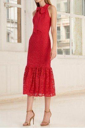 445707 Red Sleeveless Lace Midi Dress