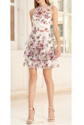 445755 Sleeveless Floral Short Dress