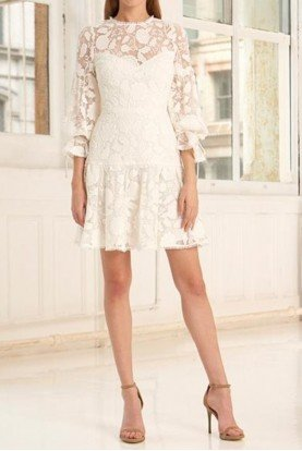 ML Monique Lhuillier 445710 White Lace Dress with Sleeves