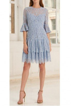 ML Monique Lhuillier 445693 Light Blue Long Sleeve Lace Dress