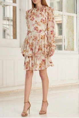 ML Monique Lhuillier 2 Piece Long Sleeve Floral Printed Dress