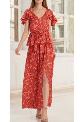 2 Piece Red Floral Printed Maxi Dress