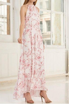 445695 White Sleeveless Printed Maxi Dress