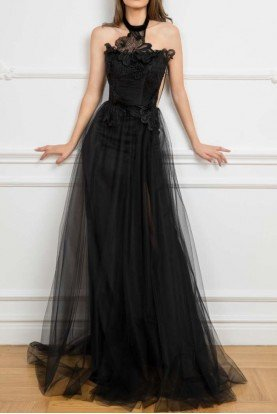 Cristallini 838 Sleeveless Black A Line Evening Gown