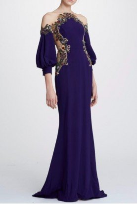 M26810 Off Shoulder Crepe Satin Gown in Amethyst