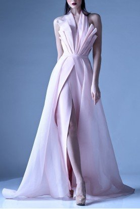 Pastel Pink Structured Halter Gown