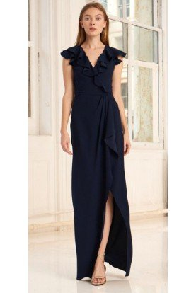 Black Flutter Sleeve Crepe Wrap Gown 445715