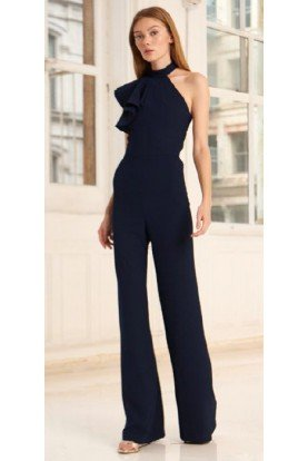 Black Flutter Sleeve Crepe Jumpsuit 445713
