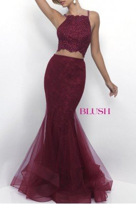 Blush Prom Wine Lace Tulle Mermaid Two Piece 11224