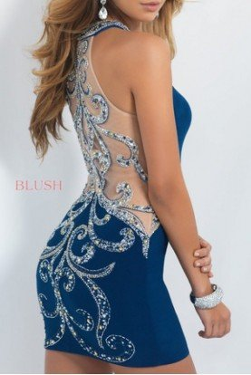 Navy Jeweled Neckline Short Dress C312