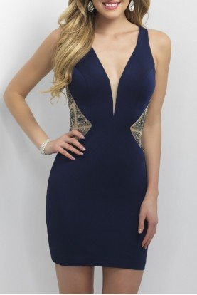 Navy Jersey Bodycon Dress C363