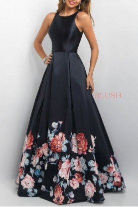 Floral Printed Back Cut Out A Line Gown 11136