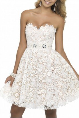 Ivory Nude Strapless Floral Lace Dress 9900