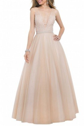 Nude  V-Neck Ball A Line Gown 5502