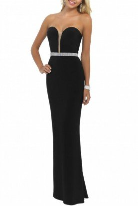 Black Strapless Gown with Sparkle Trim 11010-Blk