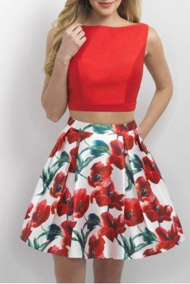 Blush Prom Valentine Floral Mikado Two Piece Dress 11153