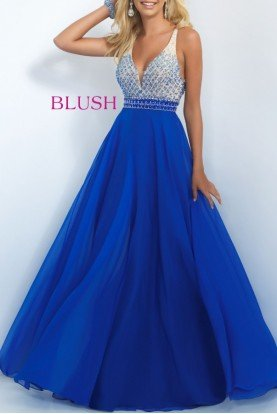 Blush Prom Royal Beaded Bodice A Line Gown 11029