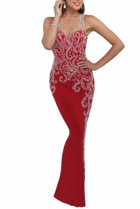 Valentine  Beaded Jersey Gown 11040
