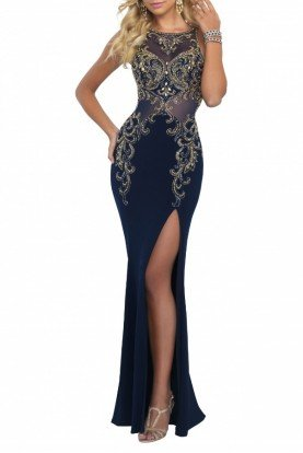 Tricolor High Slit Beaded Illusion Gown 11038