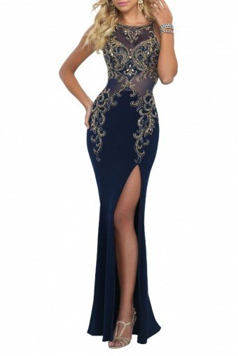 Blush Prom  Tricolor High Slit Beaded Illusion Gown 11038