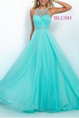 Mint Jeweled Mesh Halter A Line Gown 11053
