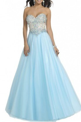 Blue Strapless Sweetheart A LineGown 67-B