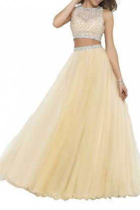 Two Piece Jeweled A Line Ball Gown 5400