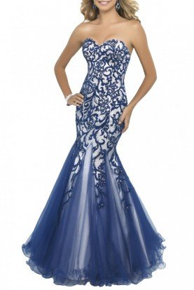 Indigo Beaded Mermaid Strapless Gown 10013
