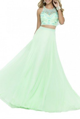 Honeydew Two-Piece A Line Gown 9916