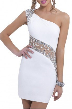 White One Shoulder Illusion Dress C153